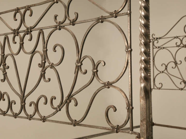 19th Century Circa 1880 French Hand Forged Iron Canopy Bed with Twists and Brass Finials For Sale