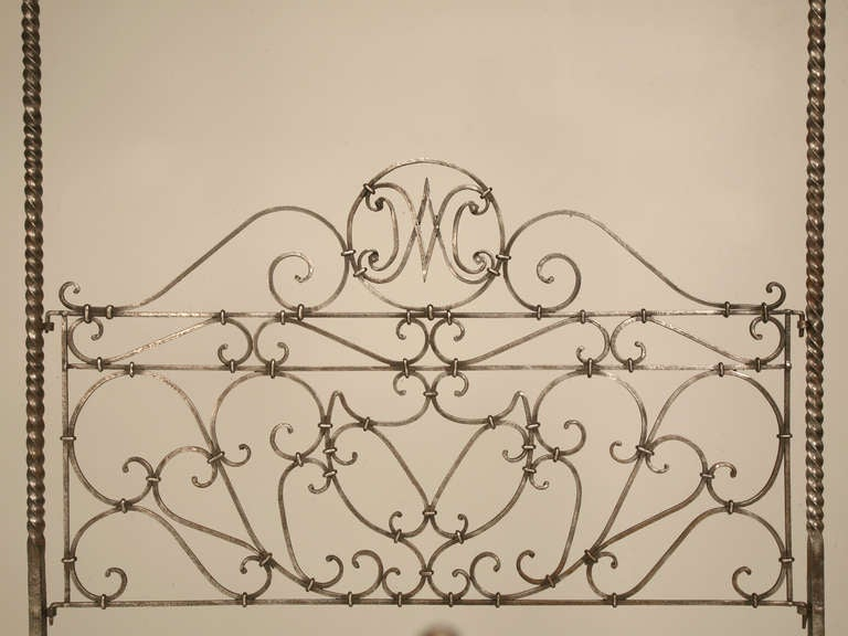 Circa 1880 French Hand Forged Iron Canopy Bed with Twists and Brass Finials For Sale 1