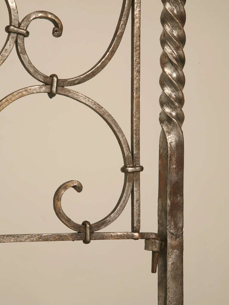 Circa 1880 French Hand Forged Iron Canopy Bed with Twists and Brass Finials For Sale 4