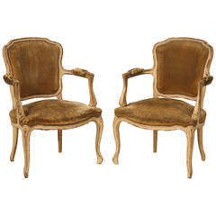 Pair of Early 1800's Louis XV Style Armchairs with Incredible Old Paint