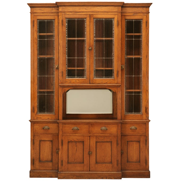 "Quarter Sawn Oak Kitchen Cabinets: Antique American ""Mission"" Leaded-Glass And Quarter-Sawn"
