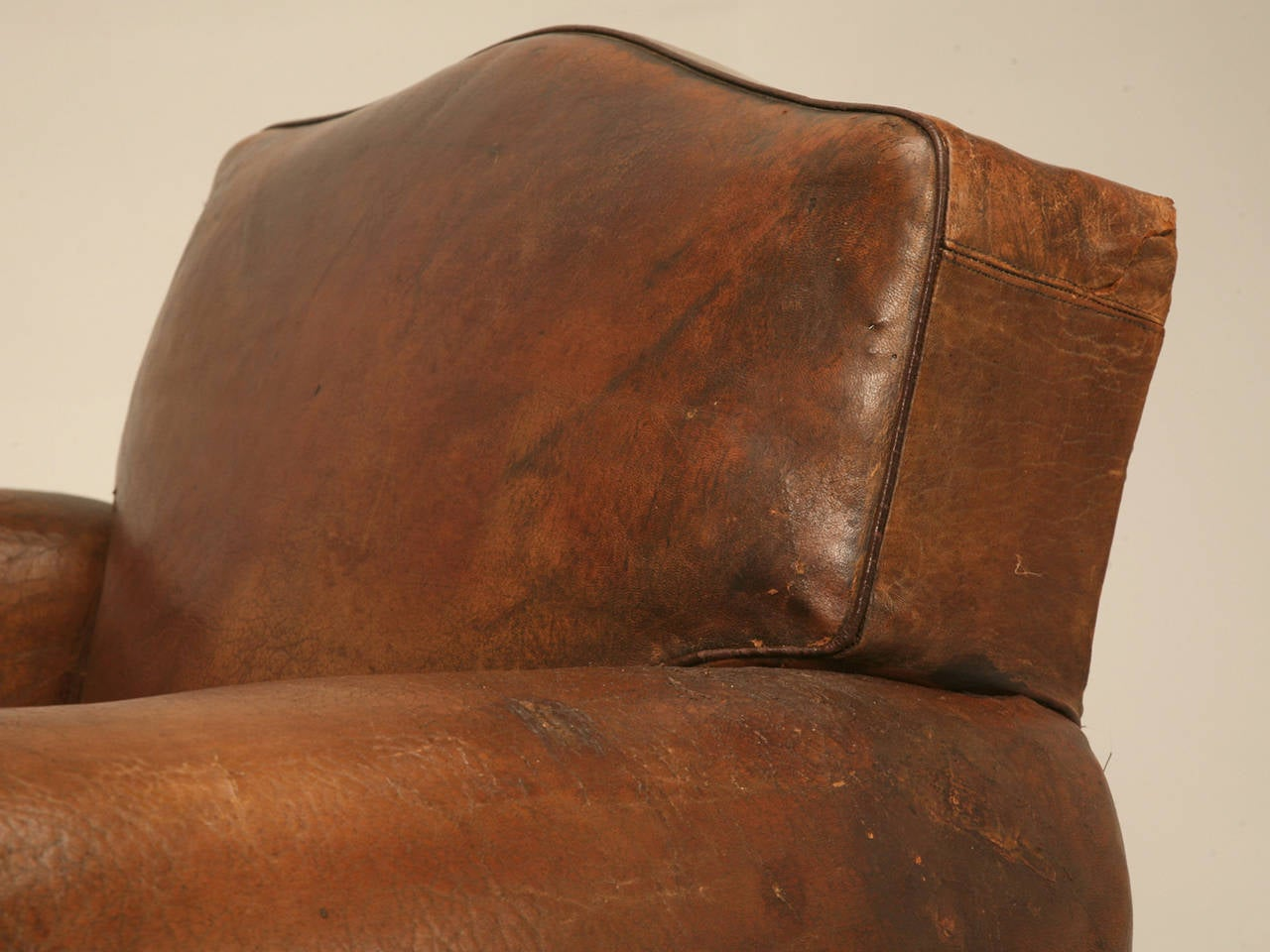 Art Deco C1930's French Leather Club Chair For Sale