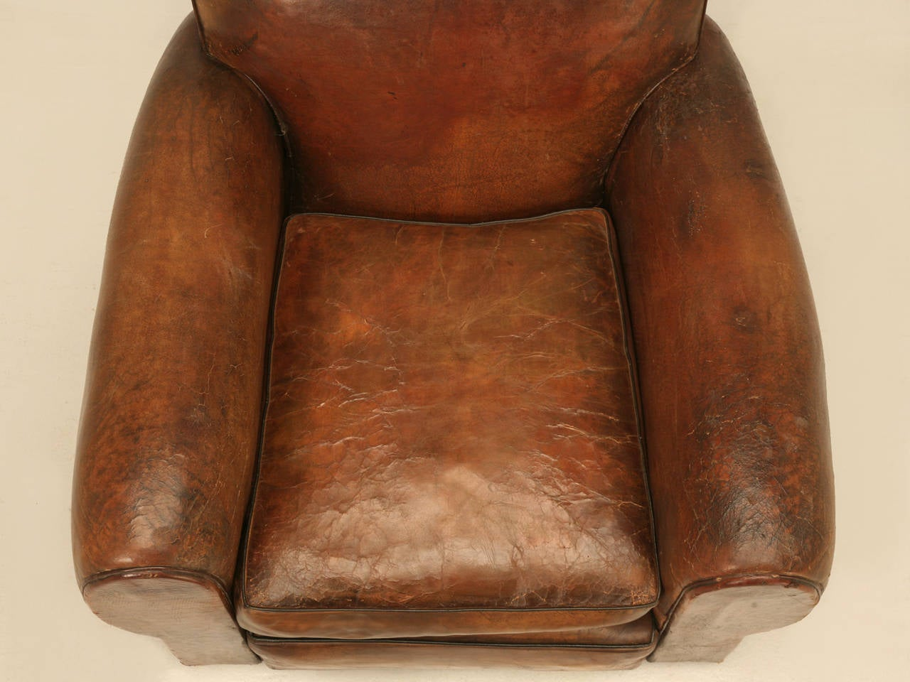 C1930's French Leather Club Chair In Good Condition For Sale In Chicago, IL