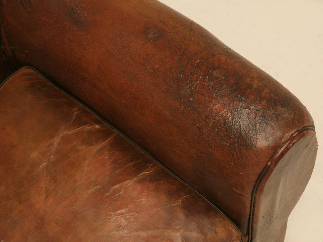 C1930's French Leather Club Chair For Sale 1