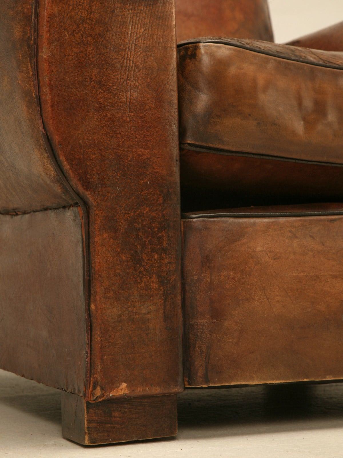 C1930's French Leather Club Chair For Sale 3