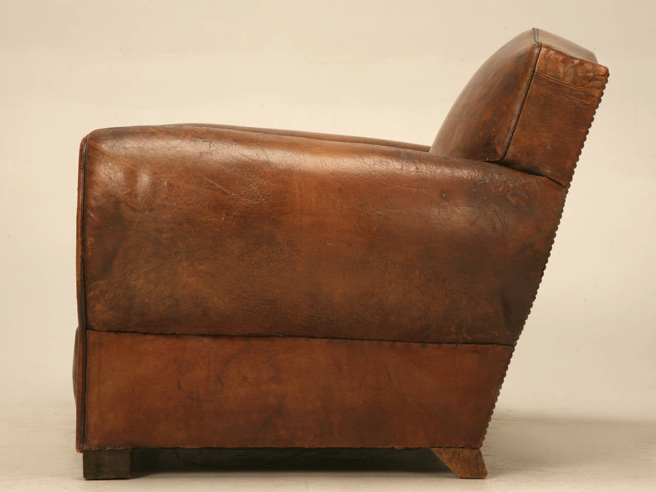 C1930's French Leather Club Chair For Sale 4