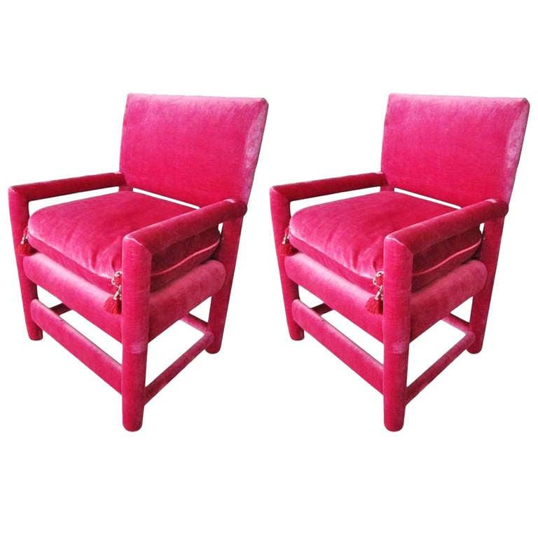 Pair Of Fuschia Velvet Chairs 1