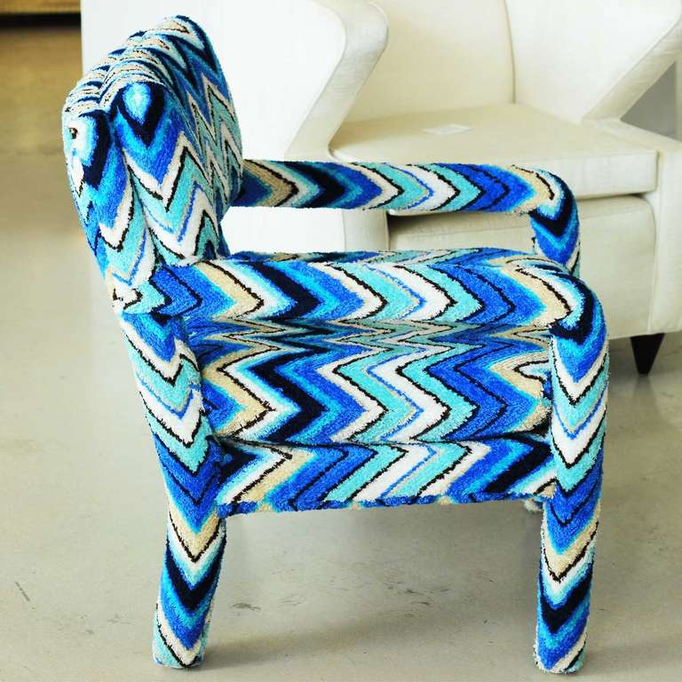 Margherita Missoni Anywhere Chair: Pair Of Vintage Parsons Chairs With Missoni Fabric At 1stdibs