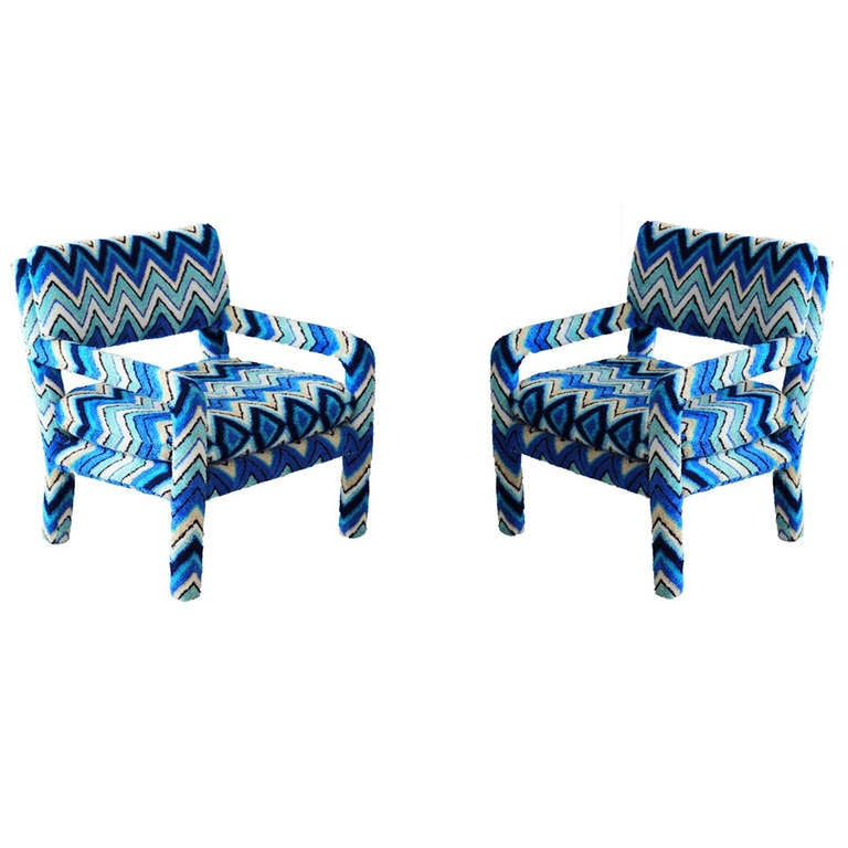 Missoni Home Armchair Virgola Nador: Pair Of Vintage Parsons Chairs With Missoni Fabric At 1stdibs