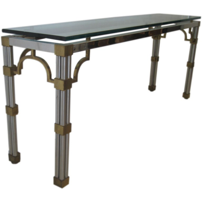 Mixed metal console table at 1stdibs Metal console table
