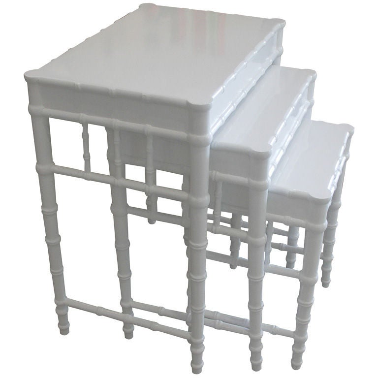 Trio Of White Lacquer Faux Bamboo Nesting Tables 1