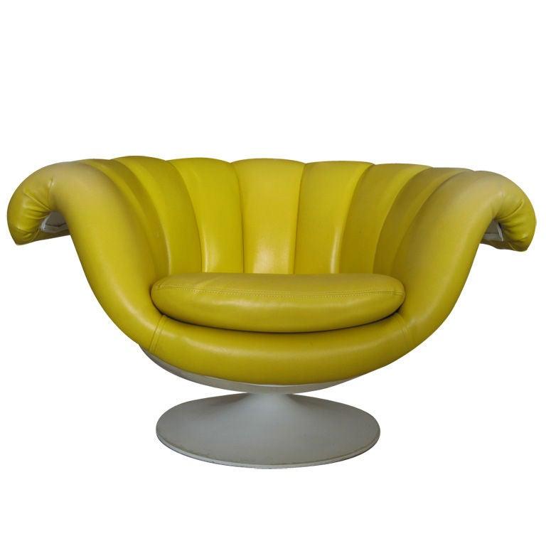 Mid Century Modern Yellow Vinyl and Fiberglass Lounge Chair at 1stdibs