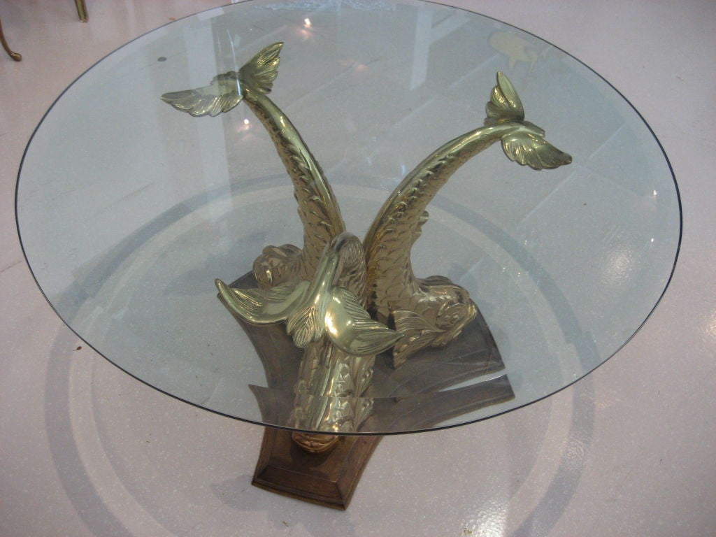 Vintage Brass Dolphin Coffee Table At 1stdibs
