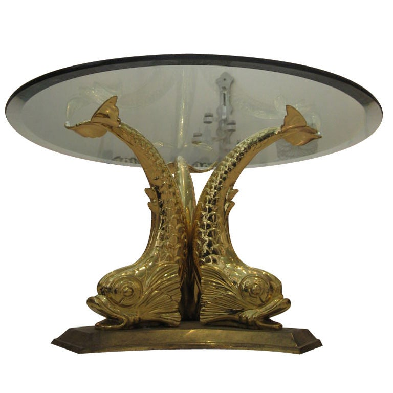 Vintage brass dolphin coffee table at 1stdibs Antique brass coffee table