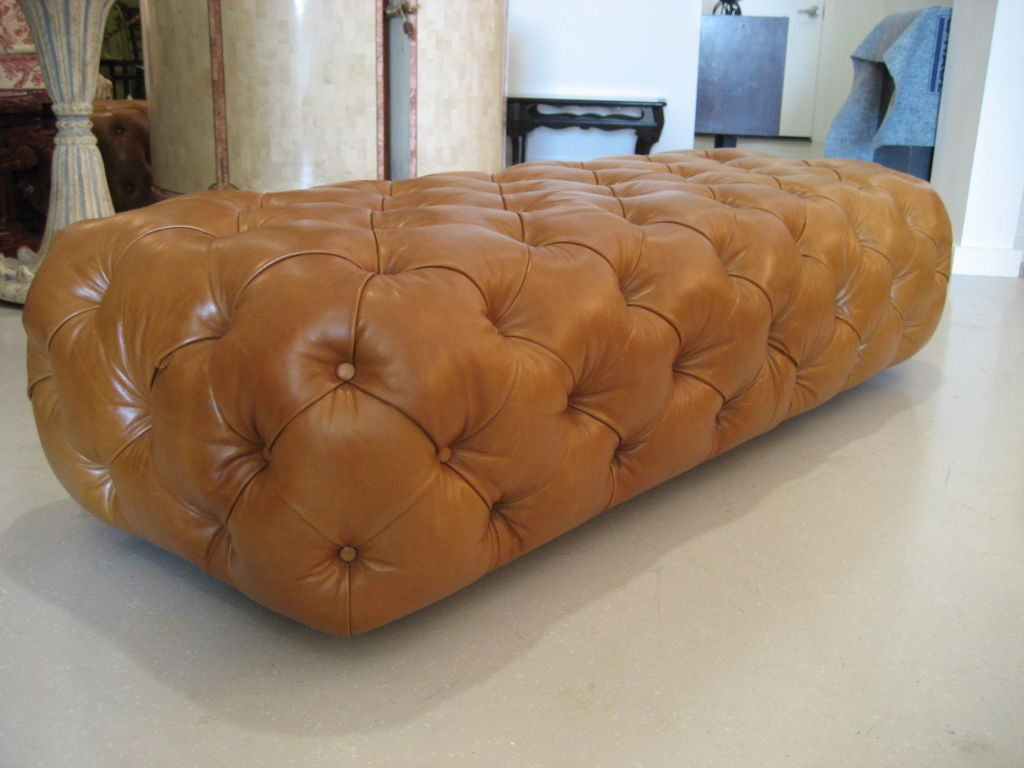 george smith leather chesterfield ottoman at 1stdibs. Black Bedroom Furniture Sets. Home Design Ideas
