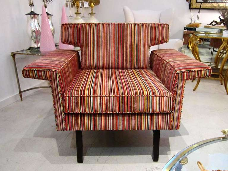 Modern Furniture Upholstery pair of mid-century modern arm chairs with striped upholstery at