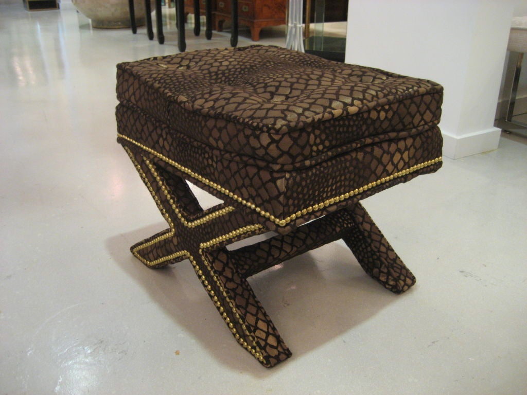 Pair Of Upholstered And Studded X Benches At 1stdibs