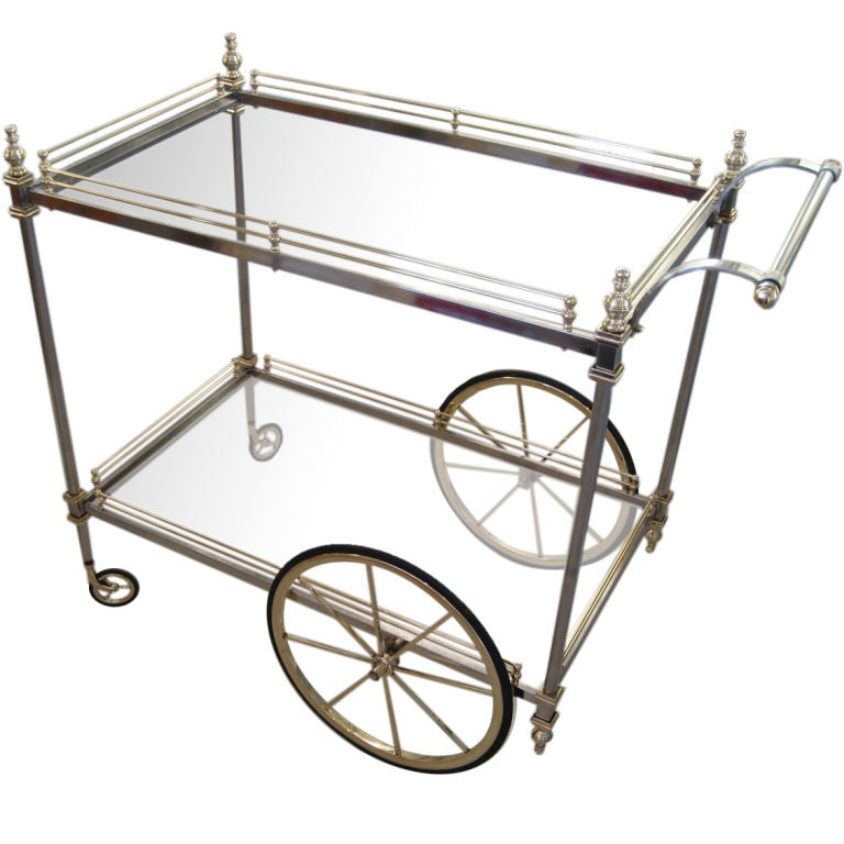 Chrome and Brass Cocktail Trolley by La Barge