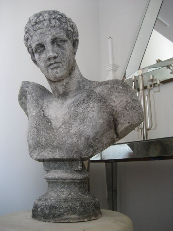 Large Vintage Concrete Classical Male Bust At 1stdibs