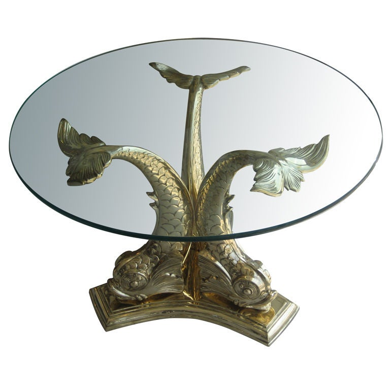 Wonderful Monumental Brass Dolphin Table 1