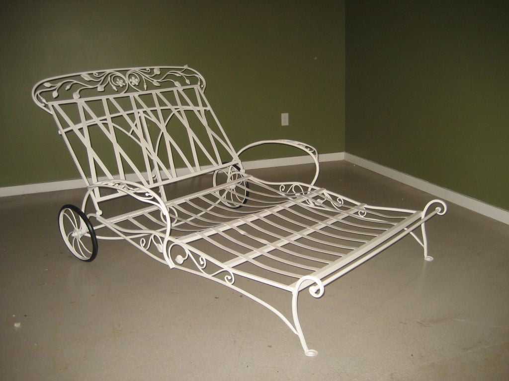 vintage wrought iron chaise lounge eBay