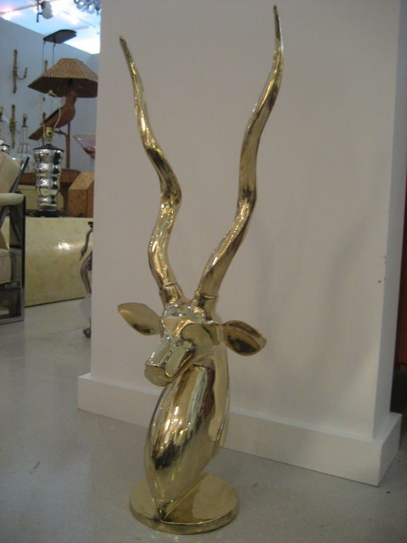 Polished Brass Antelope Sculpture image 2