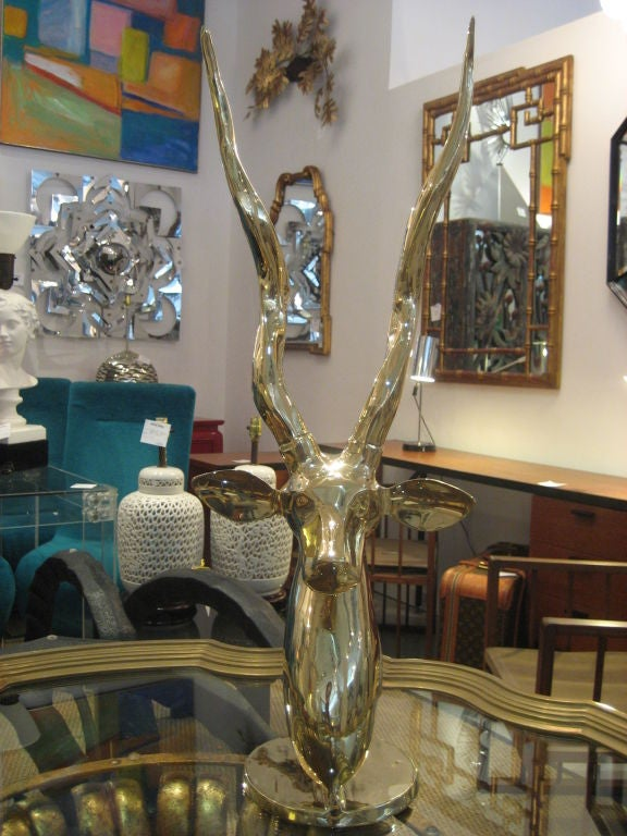 Polished Brass Antelope Sculpture image 10