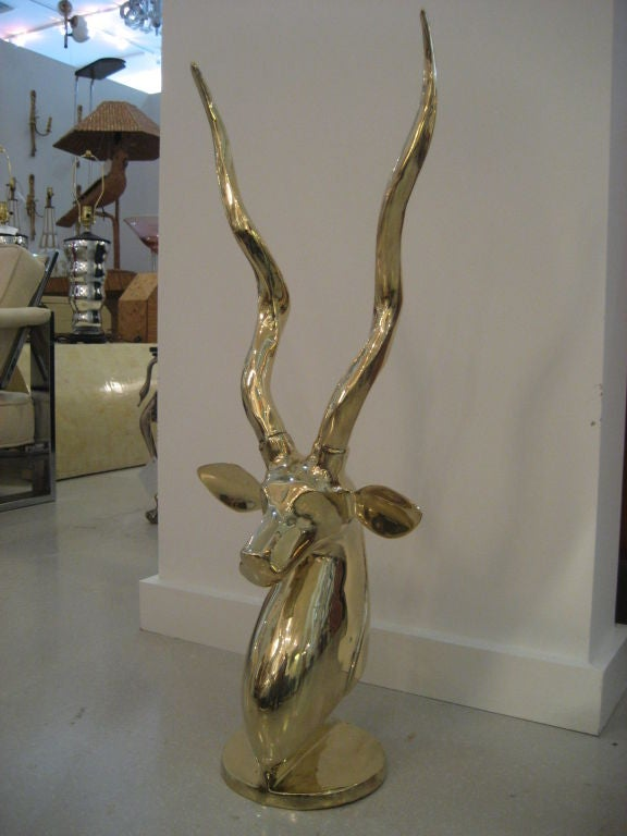 Polished Brass Antelope Sculpture image 3