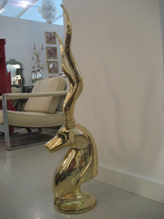 Polished Brass Antelope Sculpture image 4