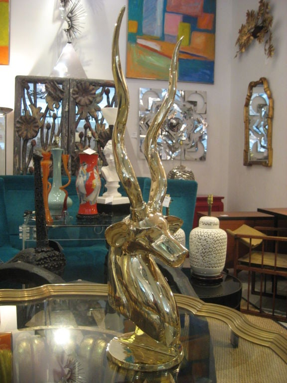 Polished Brass Antelope Sculpture image 6
