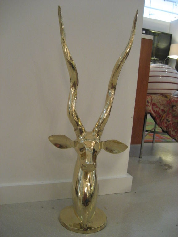 Polished Brass Antelope Sculpture image 8