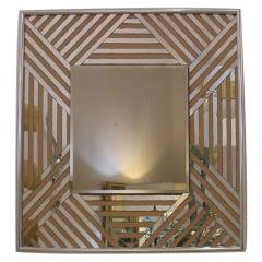 Vintage 1970s Zig Zag Mirror with Chrome Edge