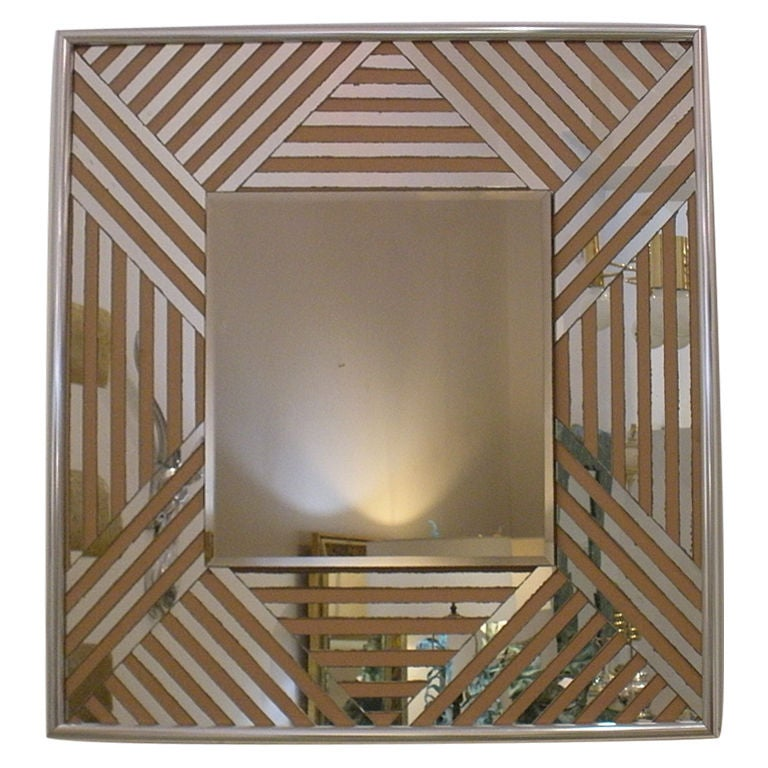 vintage 1970s zig zag mirror with chrome edge for sale at 1s