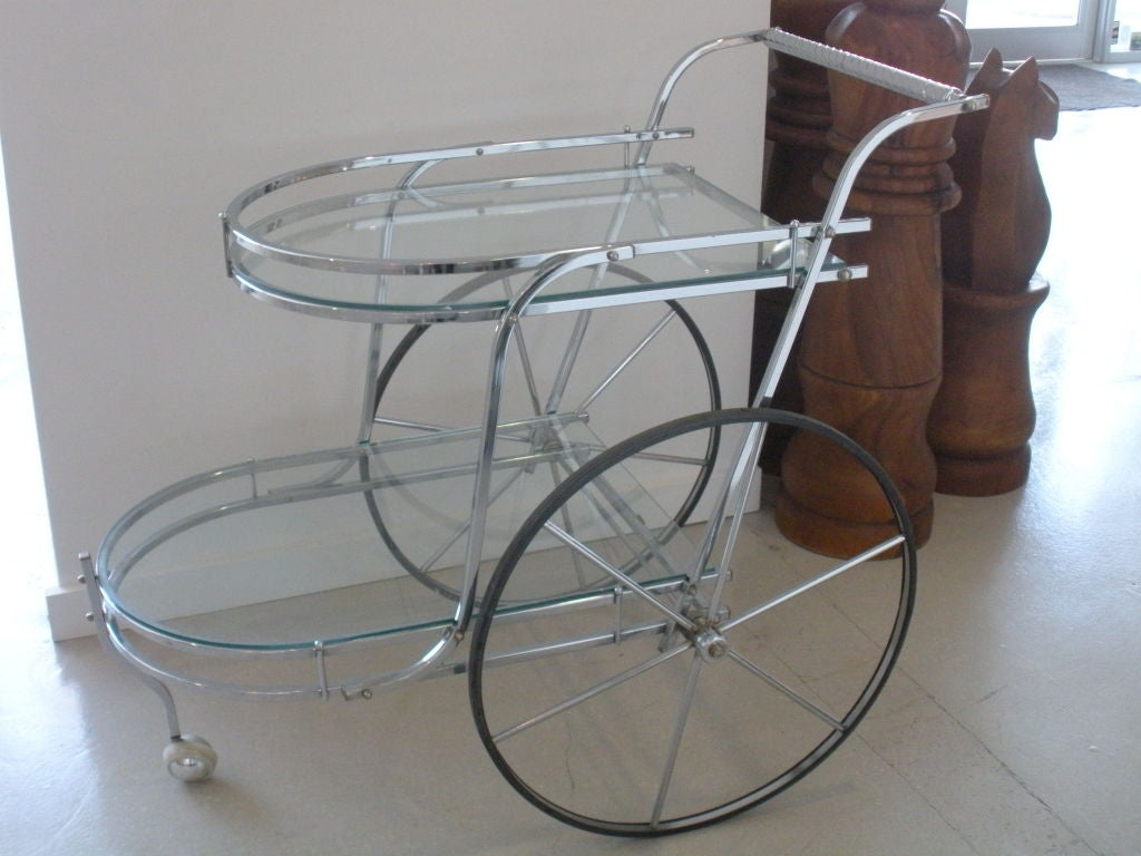 Art Deco Chrome And Glass Bar Cart At 1stdibs