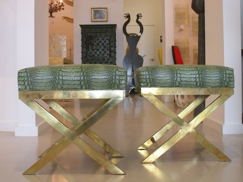 Pair of Brass Benches with Faux Green Crocodile image 3
