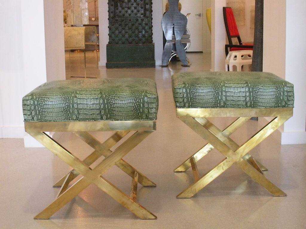 Pair of Brass Benches with Faux Green Crocodile image 4