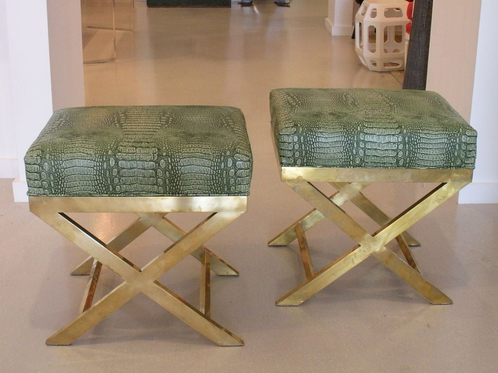 Pair of Brass Benches with Faux Green Crocodile image 5