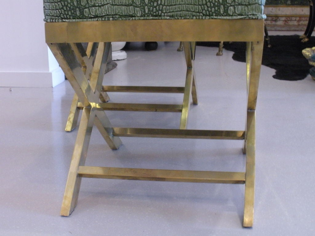 Pair of Brass Benches with Faux Green Crocodile image 7