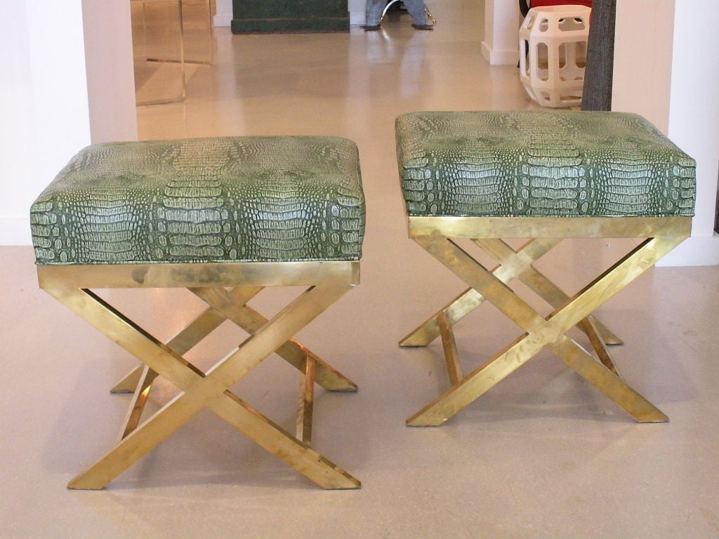 Pair of Brass Benches with Faux Green Crocodile image 9