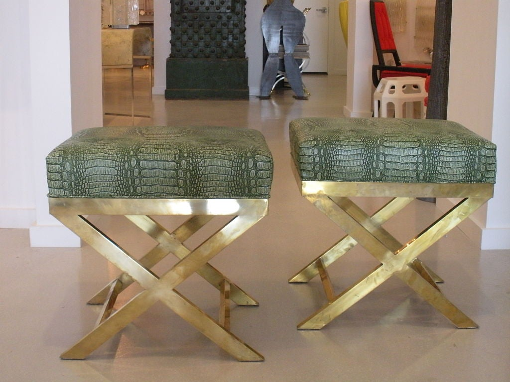Pair of Brass Benches with Faux Green Crocodile image 10