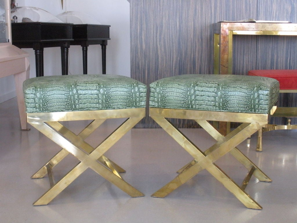 Pair of Brass Benches with Faux Green Crocodile image 2