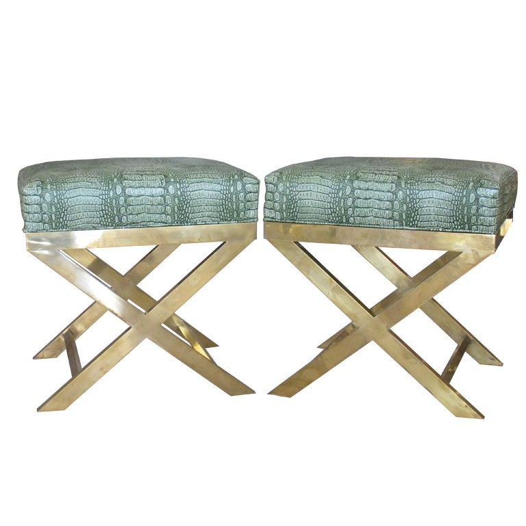 Pair of Brass Benches with Faux Green Crocodile