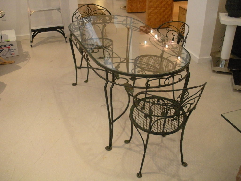 Vintage Salterini Wrought Iron Dining Table And Chairs At