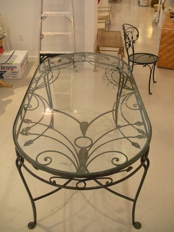 Vintage Salterini Wrought Iron Dining Table and Chairs at  : 824613062741273 from 1stdibs.com size 576 x 768 jpeg 70kB