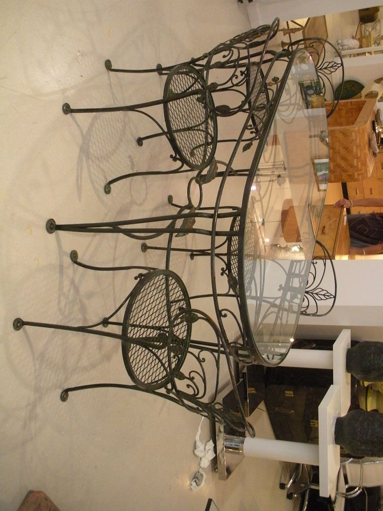 Vintage Salterini Wrought Iron Dining Table and Chairs at  : 824613062741274 from www.1stdibs.com size 768 x 1024 jpeg 138kB
