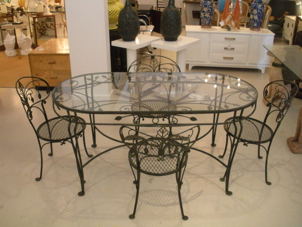 Vintage Salterini Wrought Iron Dining Table and Chairs at  : 824613062741275 from www.1stdibs.com size 1024 x 768 jpeg 124kB