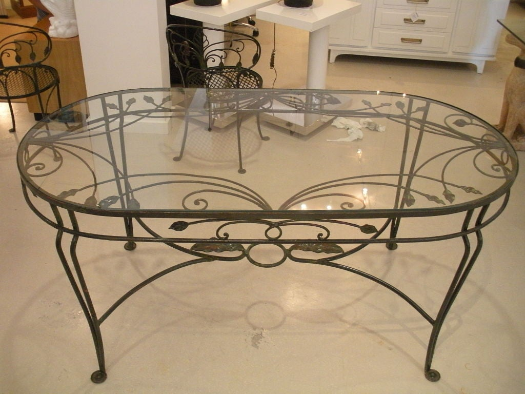 Vintage salterini wrought iron dining table and chairs at for Wrought iron furniture