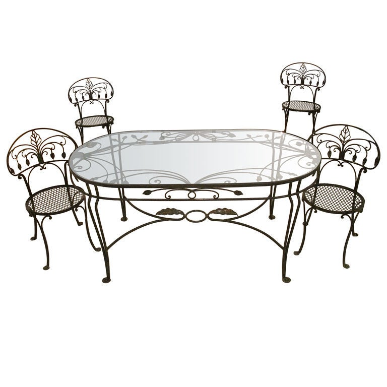 Vintage salterini wrought iron dining table and chairs at - Vintage wrought iron chairs ...