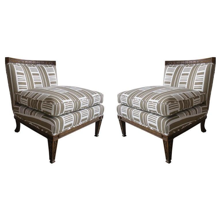 Pair of Vintage Slipper Chairs 1