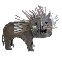 Brutalist Iron Lion Sculpture
